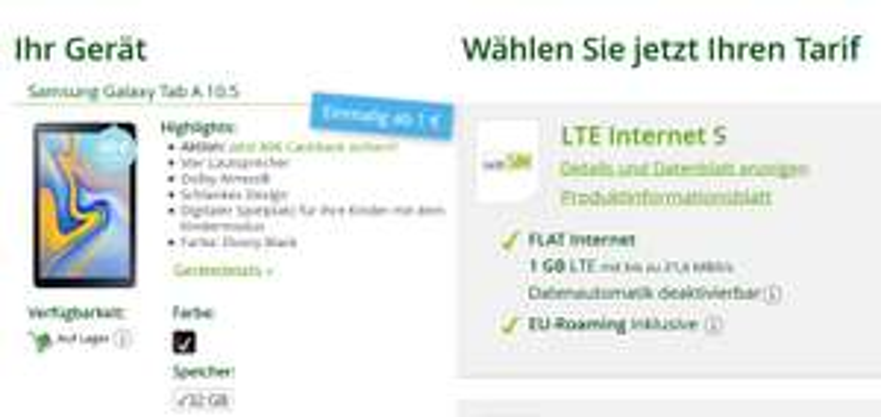 Samsung Galaxy Tab A 10.5 32GB LTE inkl. 1GB LTE WInSim