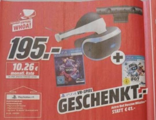 Playstation VR V2 + Camera + VR Worlds & Astro Bot für 195€ (Media Markt) Auch Online!
