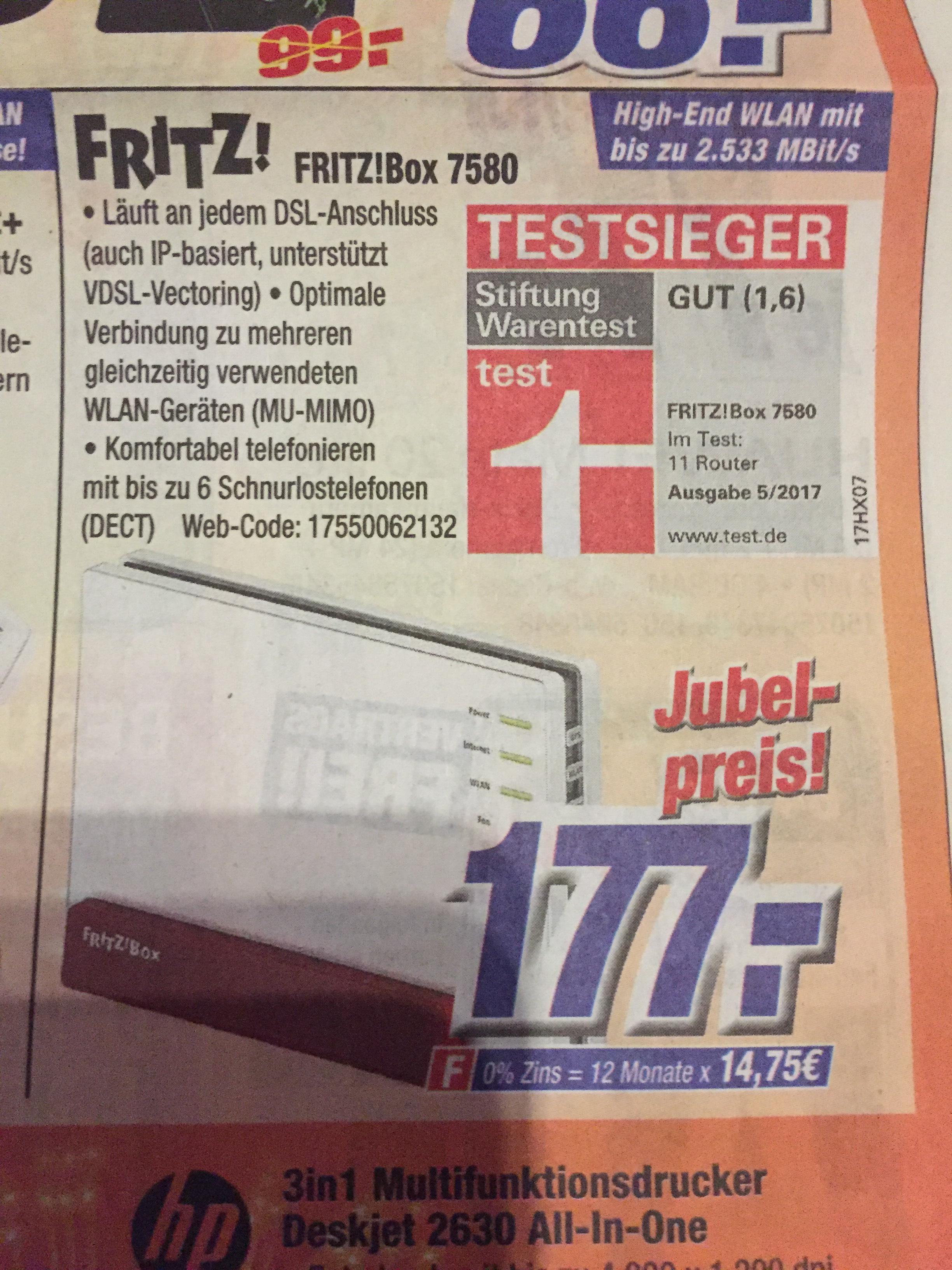 AVM Fritz!Box 7580  Fritzbox  177€ Neueröffnung bei Expert in Siehburg ( Lokal )