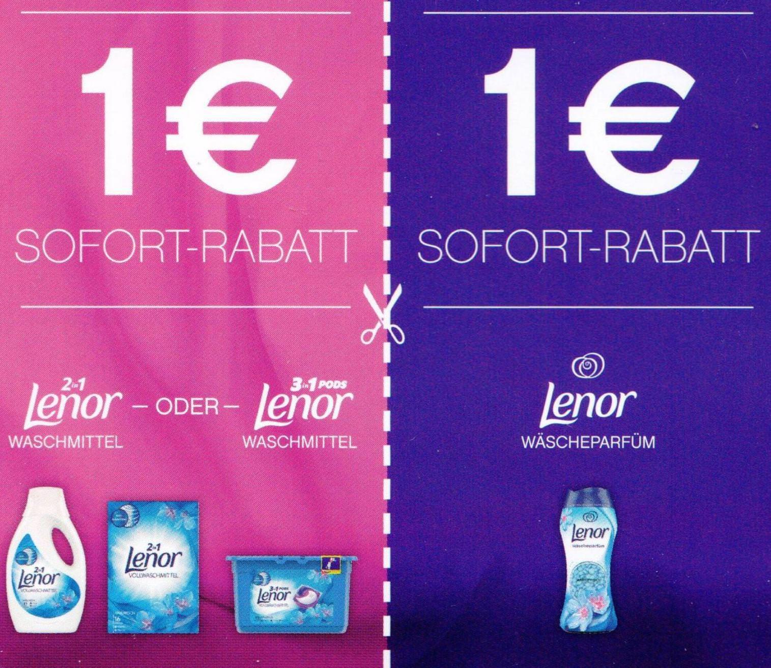 1,00€ Sofort-Rabatt für Lenor 2in1 Waschmittel / 3in1 Pods oder Wäscheparfüm bis 31.07.2019 [Globus]