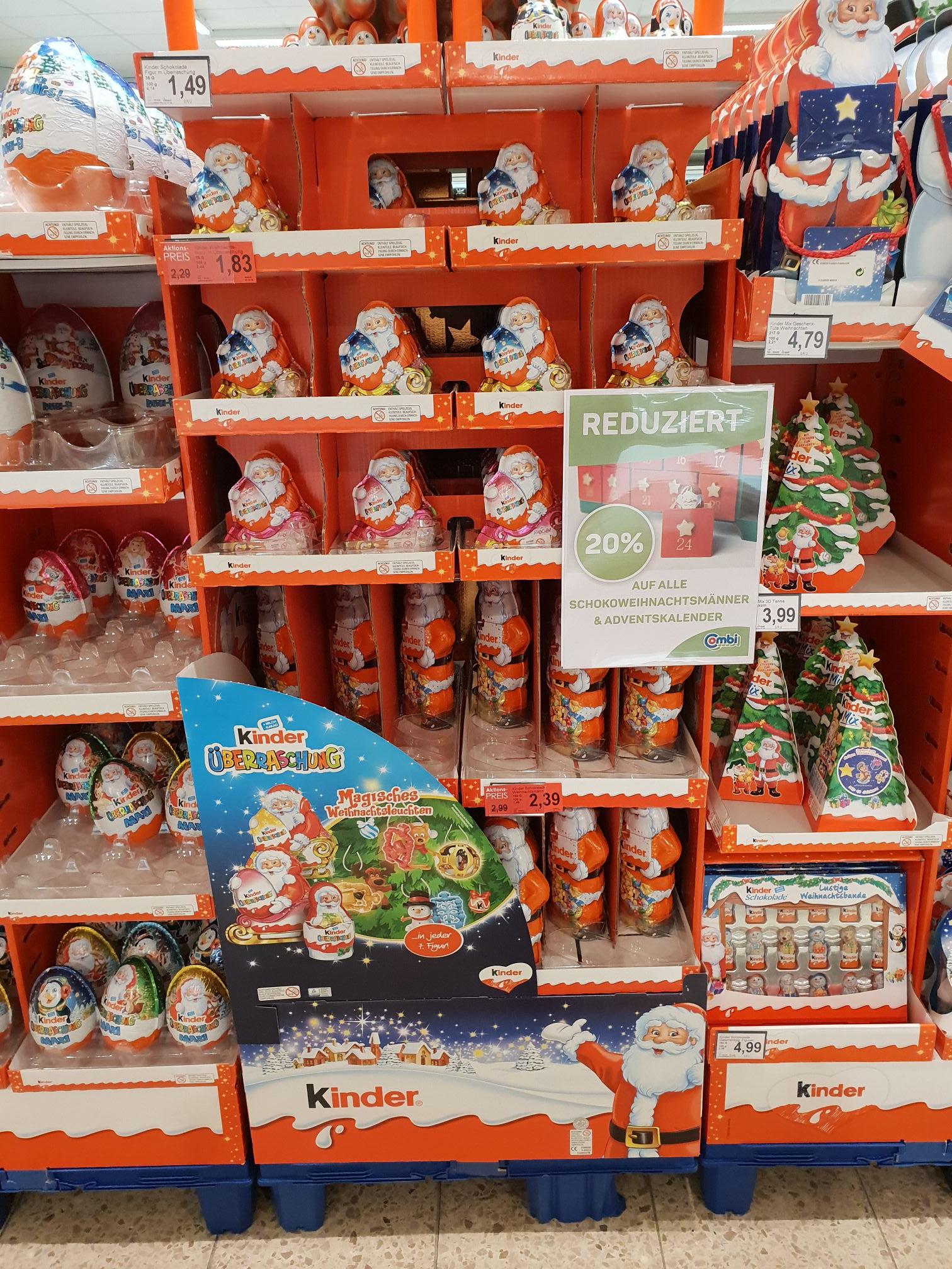 [Combi] [Famila NW] 20% auf alle Food-Adventskalender und Schokoweihnachtsmänner incl. Ferrero