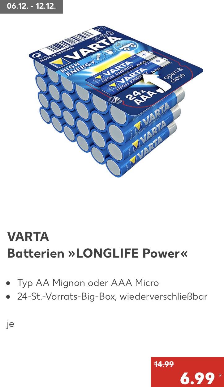 Kaufland ab 6.12 Varta AAA oder AA High Energy Batterie 24 St.