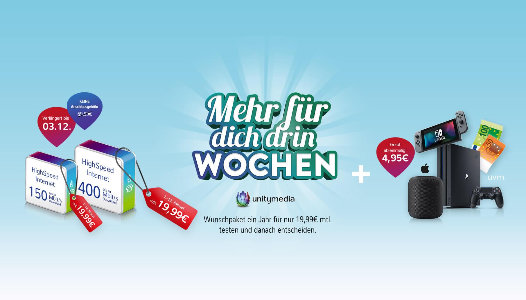 Unitymedia 2play Fly 400 für eff. 25,82€ od. 3play JUMP 150 für eff. 30,82€ od. 3play FLY 400 für eff. 35,82€ durch 220€ Auszahlung  *UPDATE* jetzt alternativ mit SONOS Beam