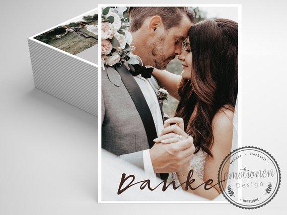 100 Dankeskarte Hochzeit, Personalisierte Danksagung mit Foto, Hochzeitsdanksagung, Danksagungskarte, A6, Deutsch Französisch Italienisch