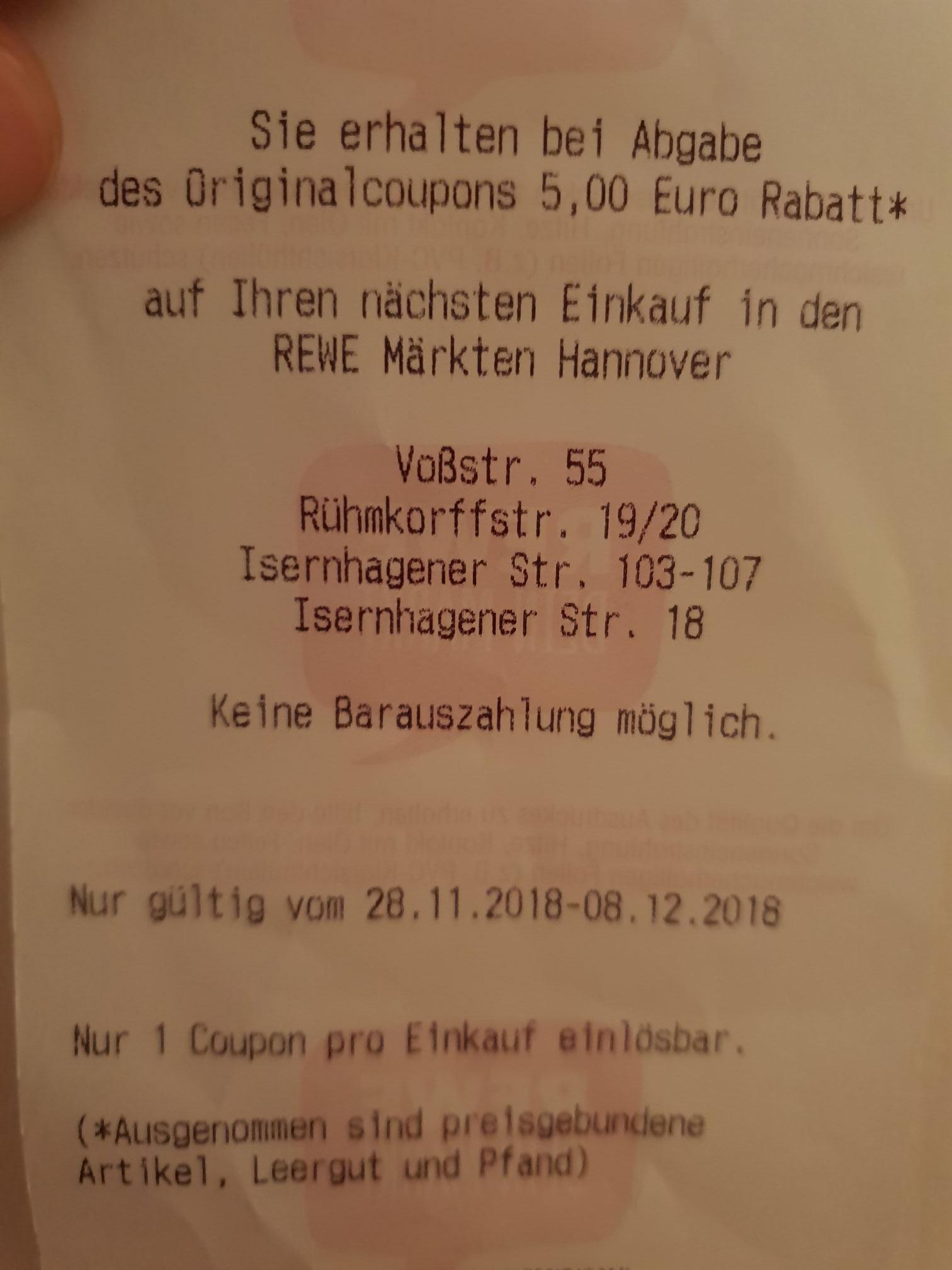 5 € auf den nächsten Einkauf bei Rewe.