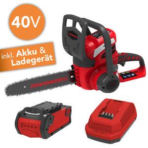 Powerworks (baugleich Greenworks) Kettensäge 40 Volt mit 2.0 Ah Akku & Ladegerät