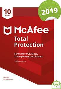 (Amazon) McAfee Total Protection 2019 | 10 Geräte | 1 Jahr | PC/Mac/Smartphone/Tablet 9,68€