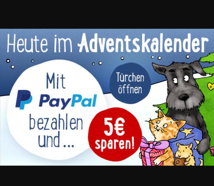 Zooplus Adventskalender Zahlung mit PayPal 5€ Rabatt ab 35€ MBW
