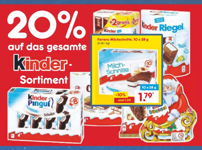 [Netto Marken-Discount] Ferrero kinder Milchschnitte 10er-Pack für 1.43 €