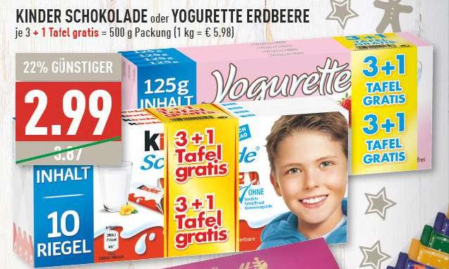 [Edeka & Marktkauf Rhein-Ruhr & Hamburg] Kinderschokolade & Yogurette - 4*125g