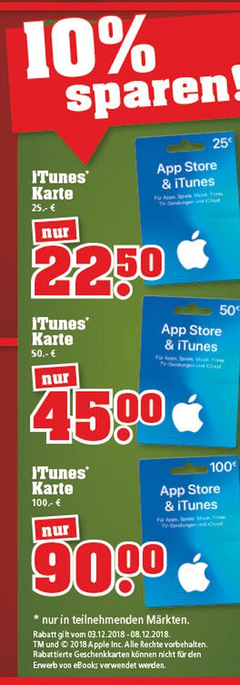[Trinkgut] 10 % auf Itunes Gutscheinkarten (Wertstufen 25€ für 22,50€, 50€ für 45€, 100€ für 90€)