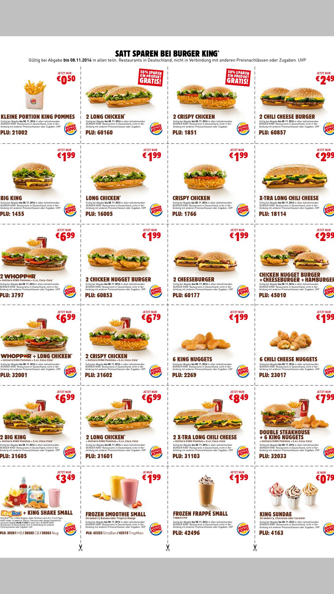 Burger King Gutscheincodes PLU - dauerhaft gültig