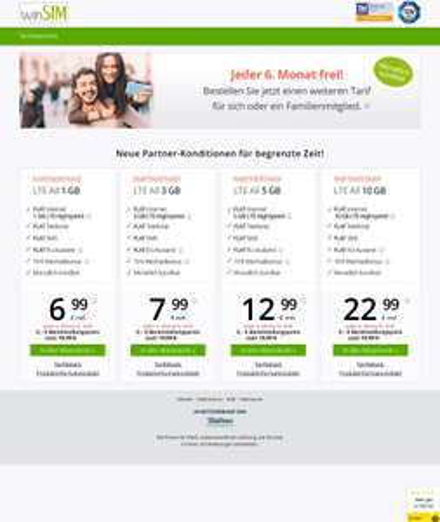 Winsim Partnertarif ohne Anschlussgebühr und jeden 6. Monat keine Grundgebühr, Mtl. kündbar