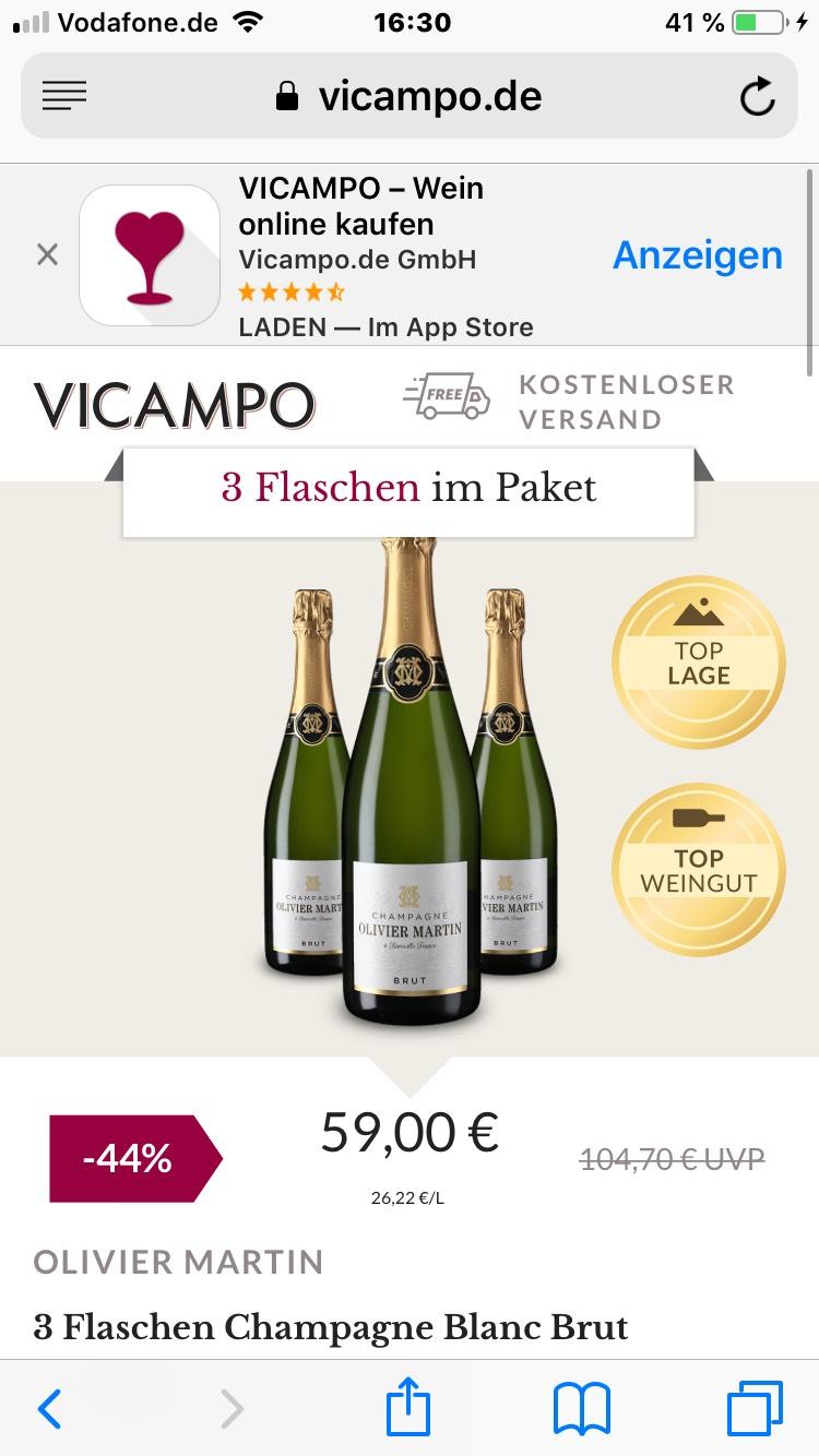 OLIVIER MARTIN 3 Flaschen Champagne Blanc Brut