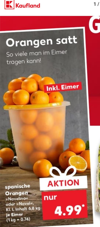 (Kaufland) Eimer Orangen (mind. 6,8kg) für 4,99€ ab 6.12.