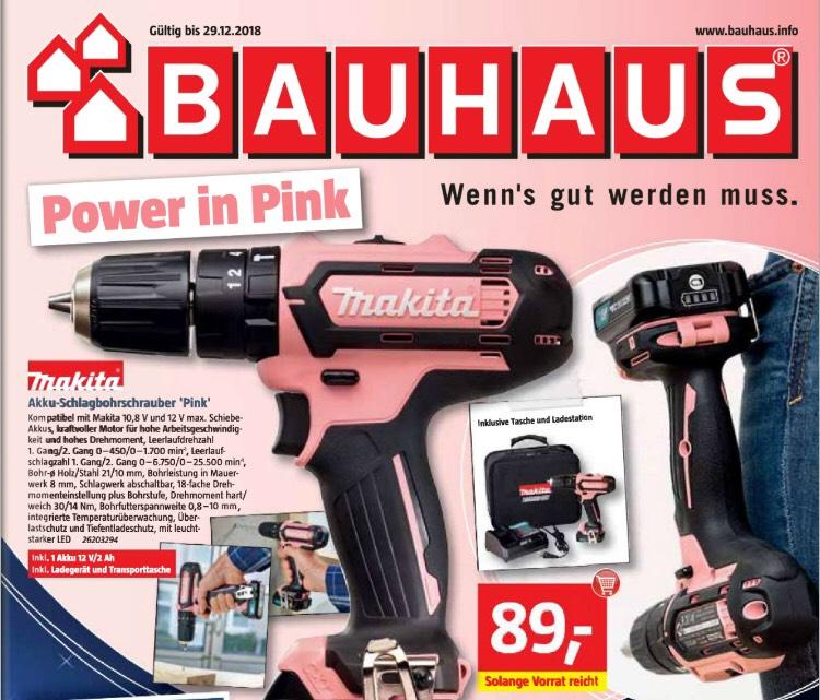 [Bauhaus] Think Pink Makita Akku-Schlagbohrschrauber HP331DSAP1