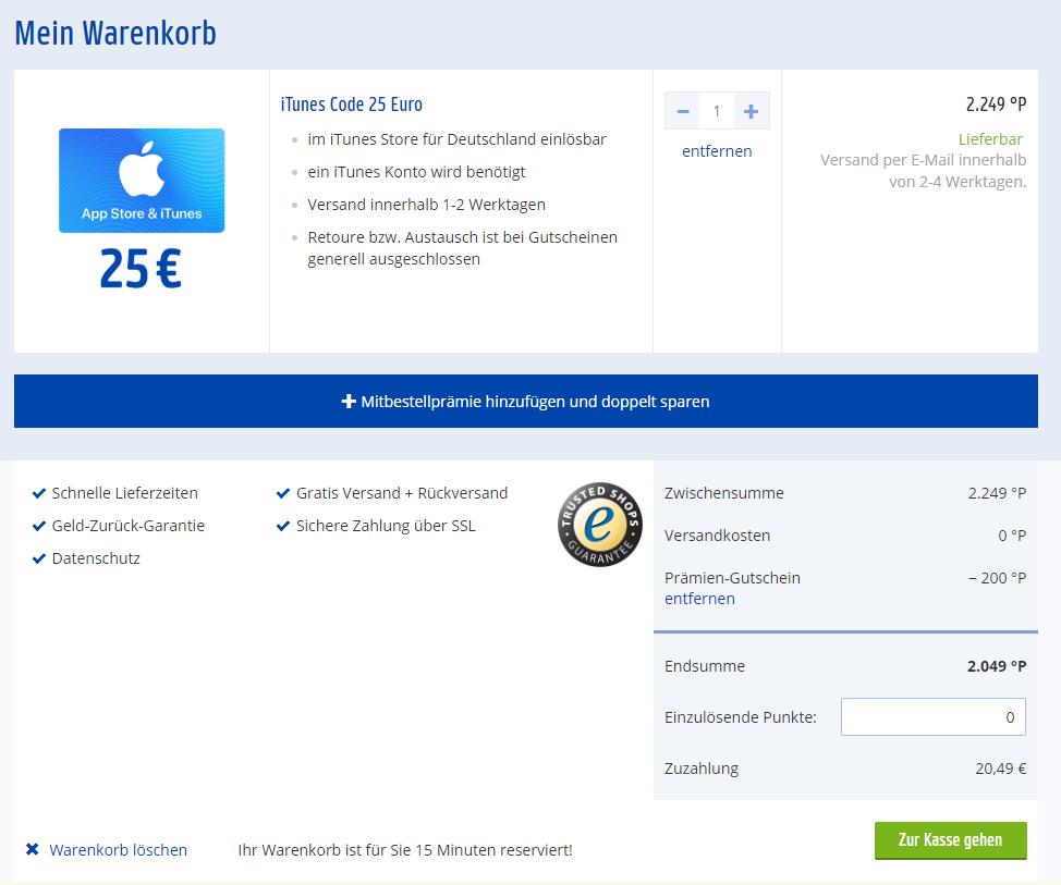 Angebot weiterhin gültig: 25 Euro Apple iTunes Store Guthaben für 20,49 mit Gutschein @Payback