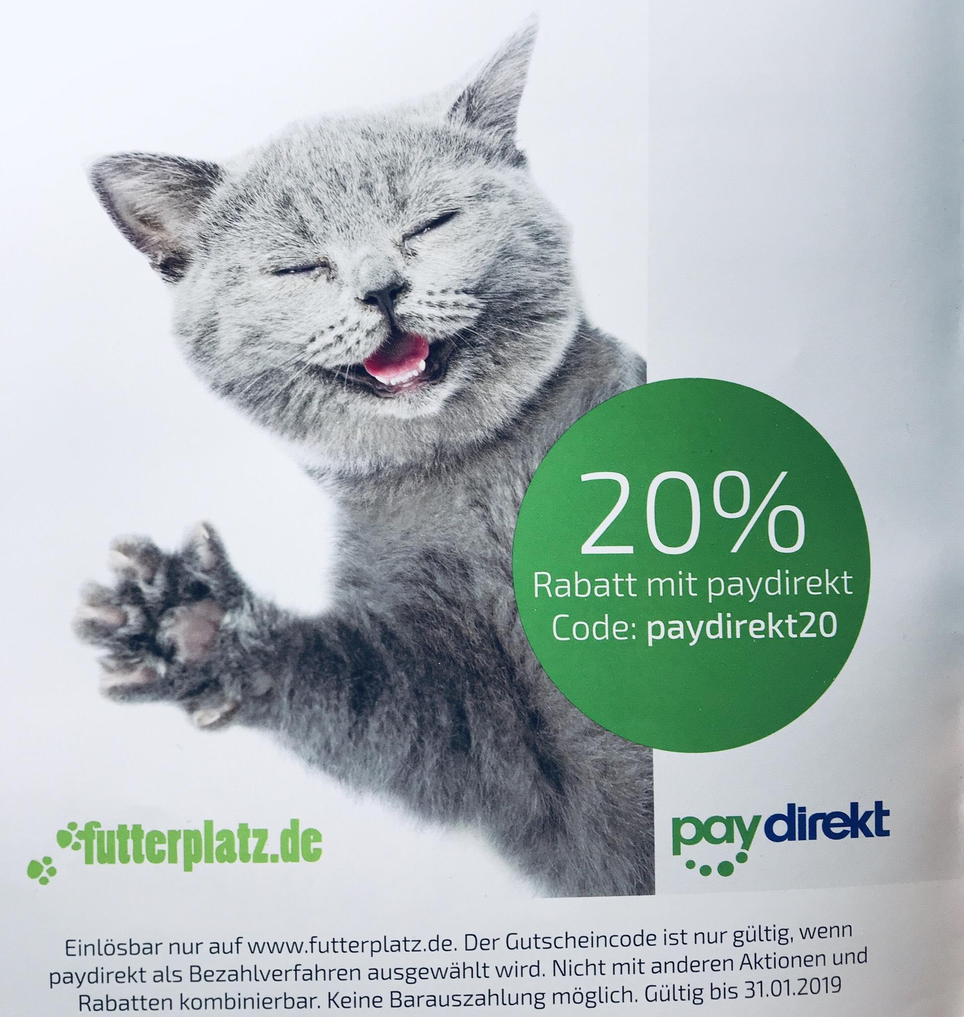 20% Rabatt mit paydirekt bei futterplatz.de ohne MBW