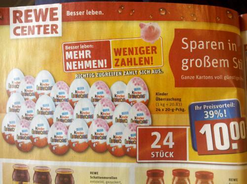 24 Überraschungseier für 10€ bei REWE CENTER (z.B. Adventskalender zum selber basteln)