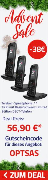 Telekom Speedphone 11 Trio mit Basis schwarz Limited Edition DECT-Telefon (Alternative zu Gigaset)