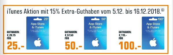 [Saturn ab 05.12-Nur Offline] Itunes Extra Guthaben in Höhe von 15% für 25€ / 50€ / 100€ Guthabenkarten