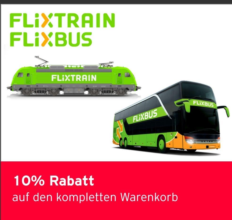 10% Rabatt auf den kompletten Warenkorb - gilt für FlixBus und FlixTrain Reisen