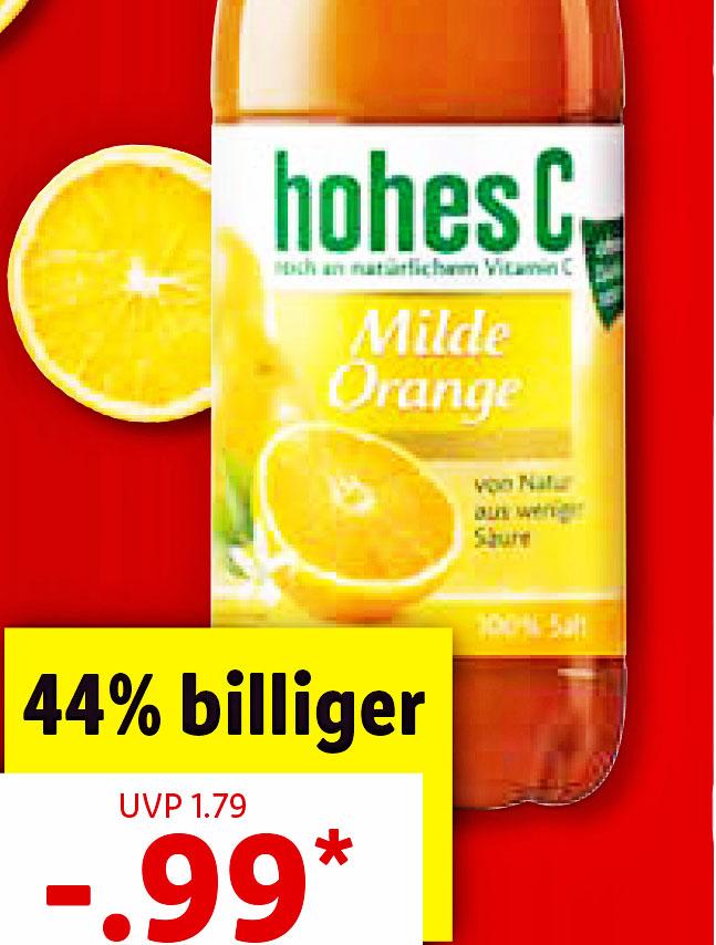 Hohes C, 1 Liter, 100% Saft für 99 Cent [Lidl ab  Montag]