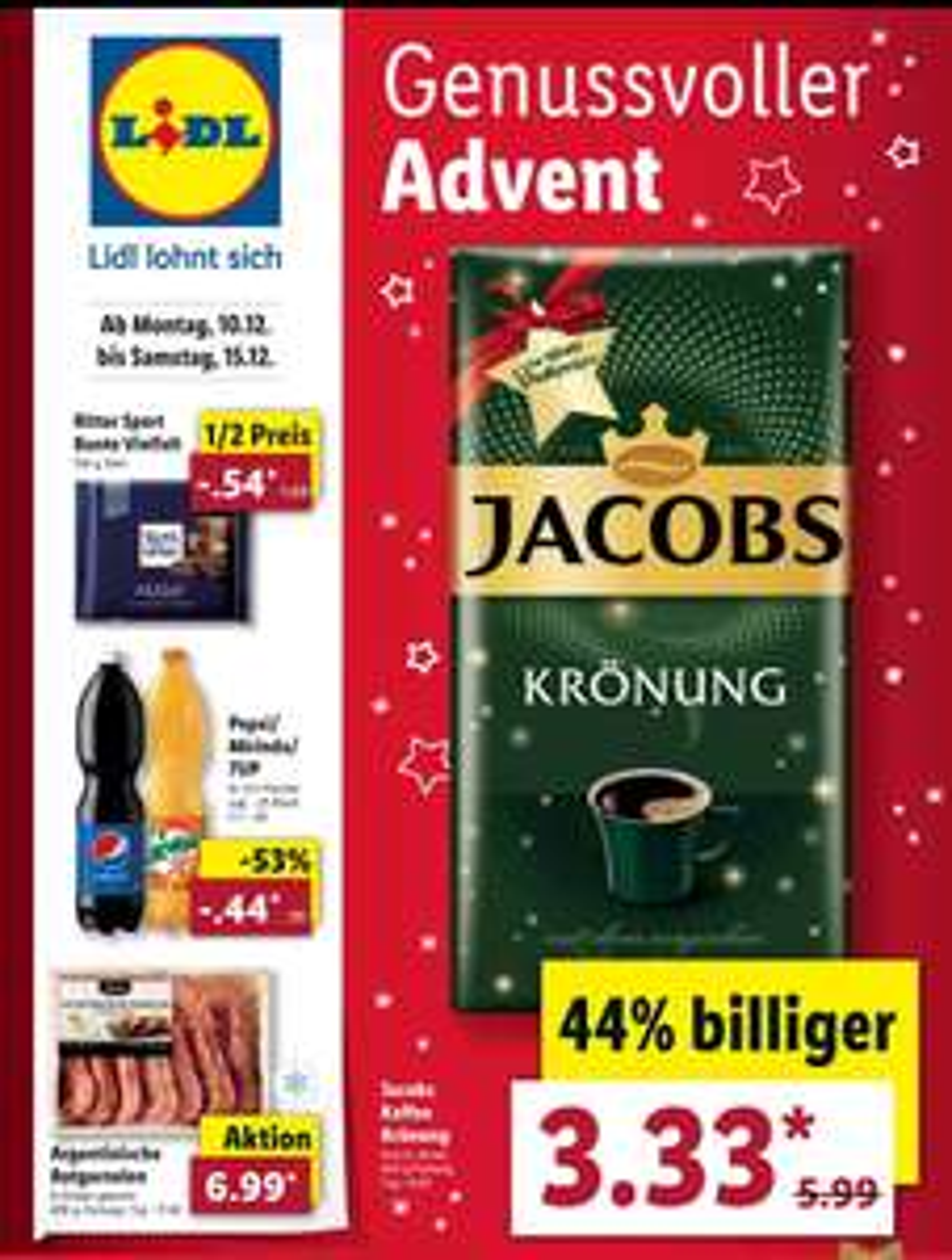Lidl Jacobs Kaffee Krönung 500g Packung für 3,33€ | Ritter Sport Bunte Vielfalt 100g für 0,54€ vom 10.12-15.12.18