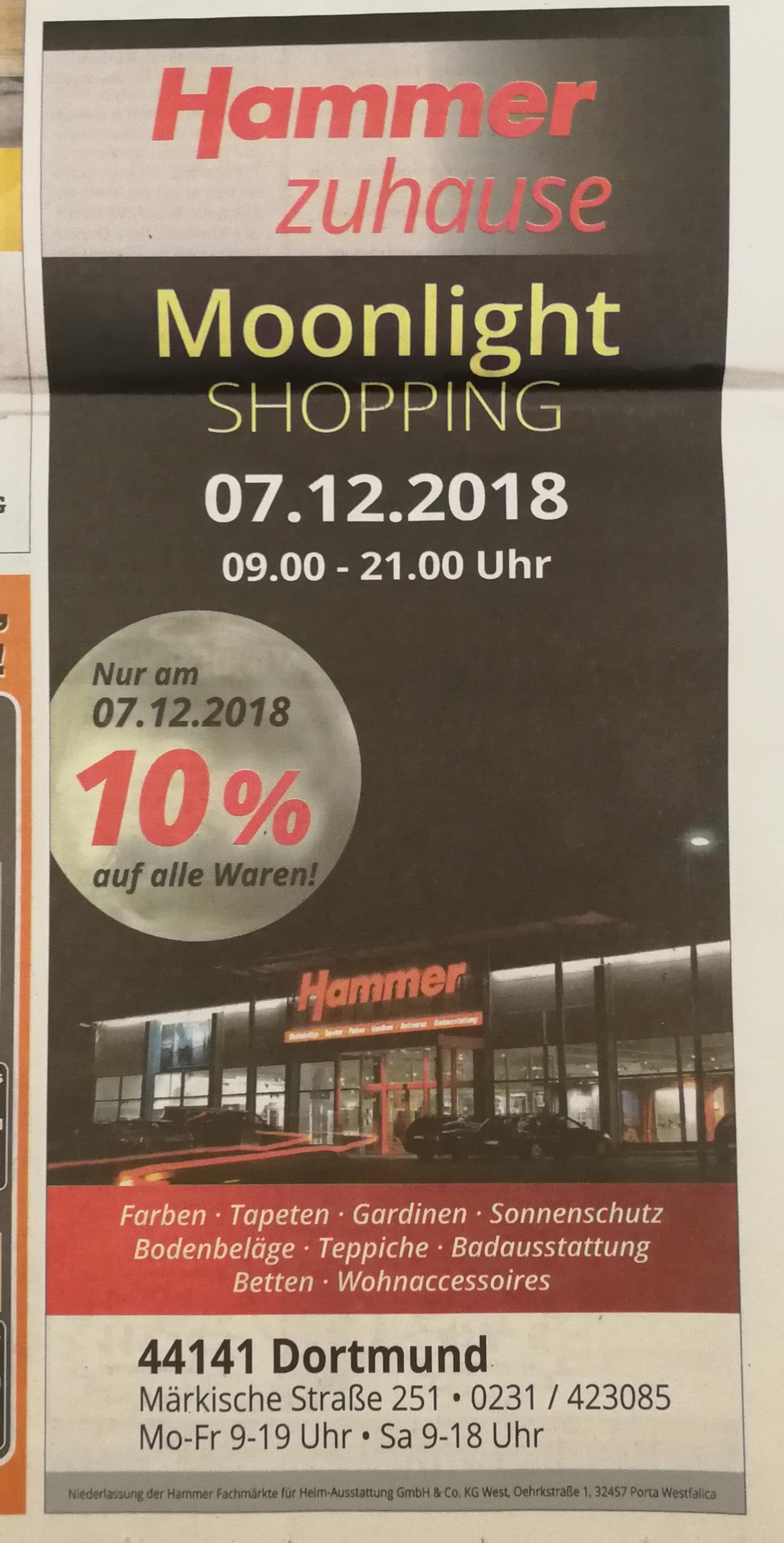 [Lokal] Offline Hammer Dortmund Märkische Str. 10% auf alles am 07.12. z.B. Alpina Schneeweiß 8l + gratis Abdeckvlies für 17,99