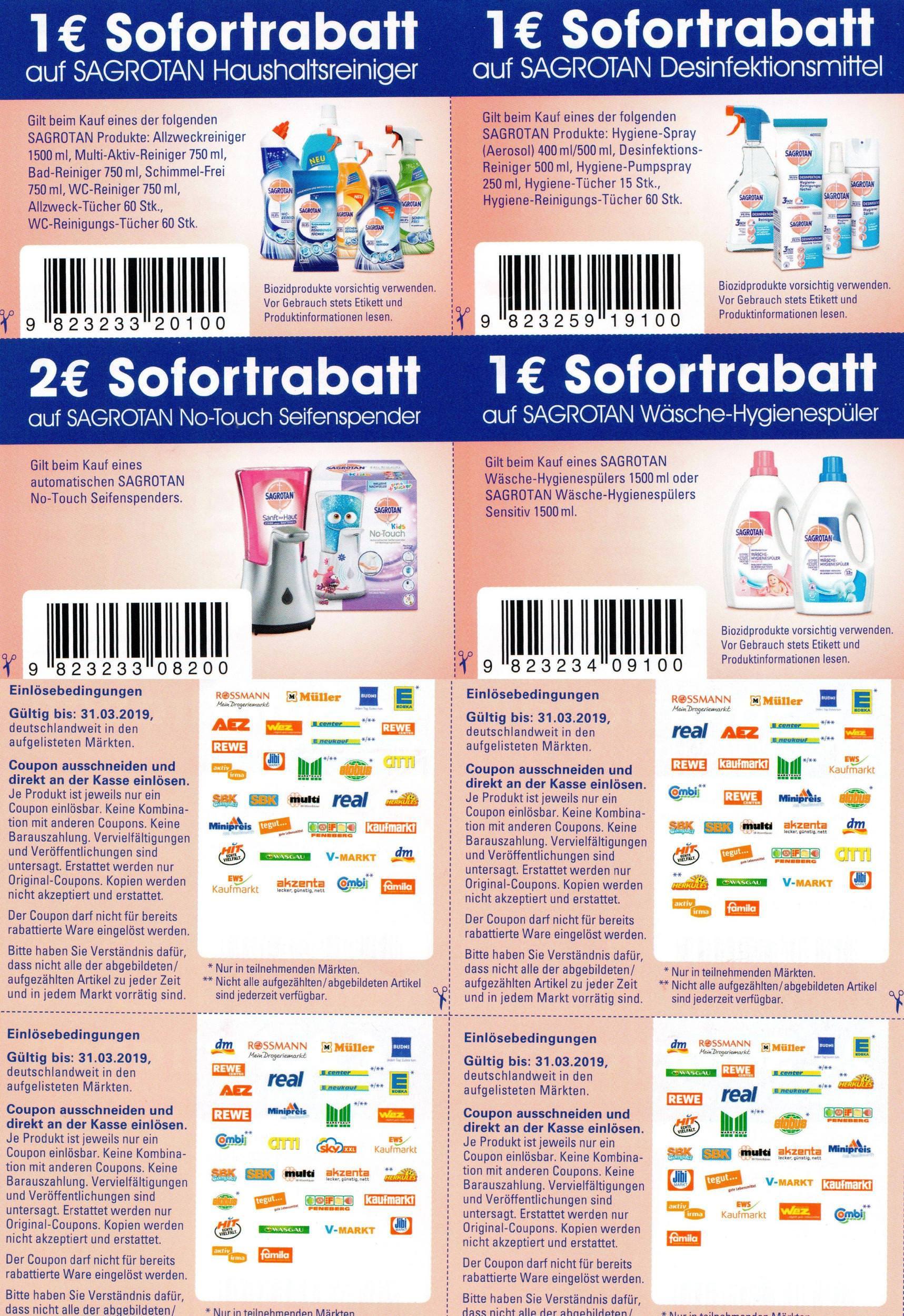 1€/1€/1€/2€ Sofort-Rabatt Coupons für Sagrotan Haushaltsreiniger/Hygiene-Produkte/Hygiene-Spüler/No-Touch Spender bis 31.03.2019