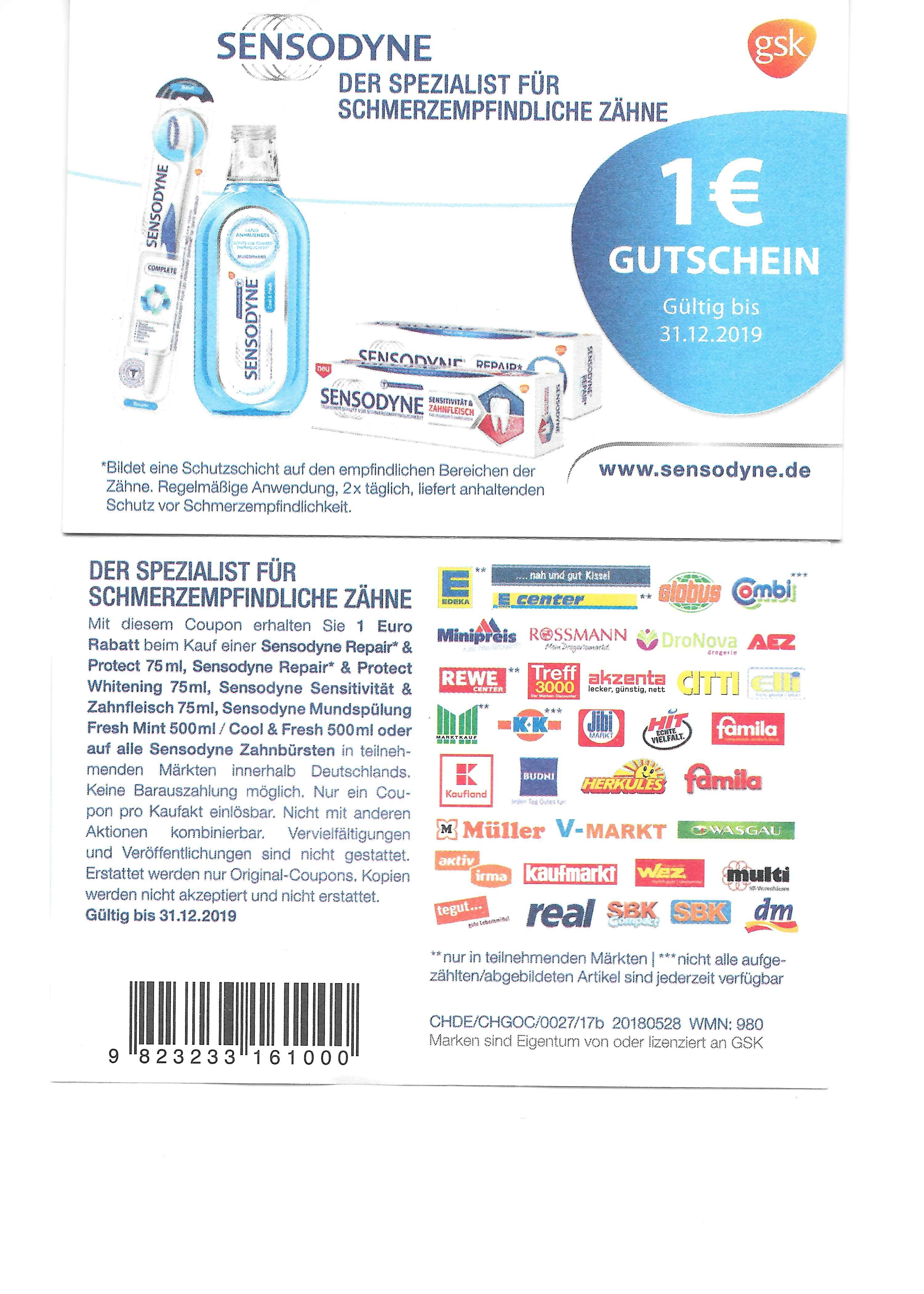 Neuer Sensodyne Coupon 1,00 Euro bis 31.12.2019 gültig