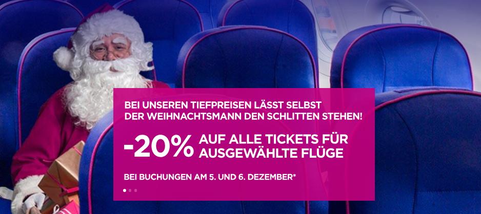 Wizz Air – Flugtickets | -20 % auf ausgewählte Flüge | Nur noch HEUTE!