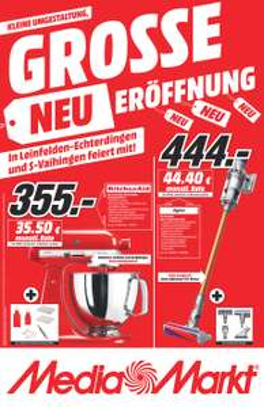 Lokal Media Markt Leinfelden-Echterdingen - Wiedereröffnung z.B. Dyson V10 Absolute 444€