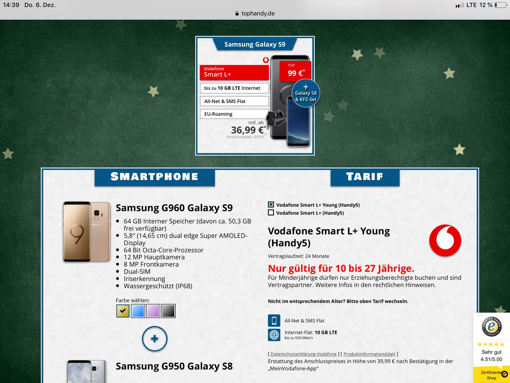 Samsung Galaxy S9 + Samsung Galaxy S8 + Samsung KFZ-Set USB-C im Vodafone Smart L+
