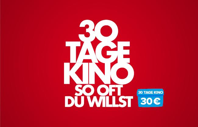 30 Tage Kino-Flat für 30,- € [Lokal | Aichach, Germering (München), Königsbrunn (Augsburg), Leipzig, Meitingen, Memmingen, Penzing]