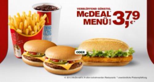 McDeal Menü jetzt Variante mit 2 Cheeseburger für 3,79 €