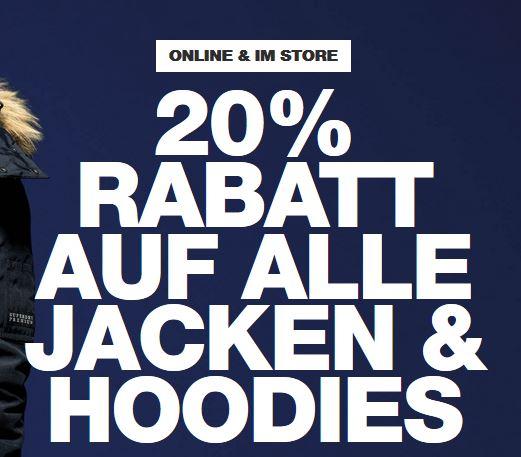 20% auf alle Jacken und Hoodies bei Superdry