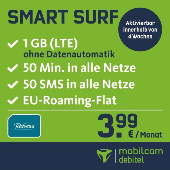 mobilcom-debitel Smart Surf mit 1GB LTE im o2-Netz für 3,99€ / Monat + 25€ Amazon Gutschein von Motion TM