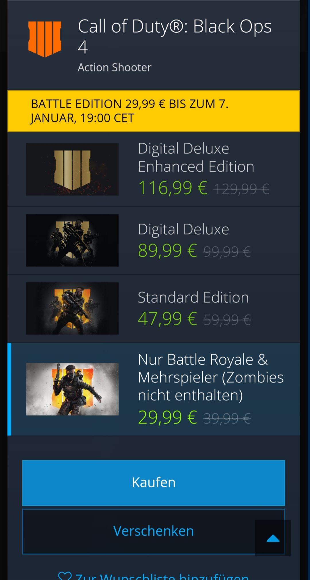 Black Ops 4 nur Multiplayer&Battle Royal (Zombie Modus nicht)