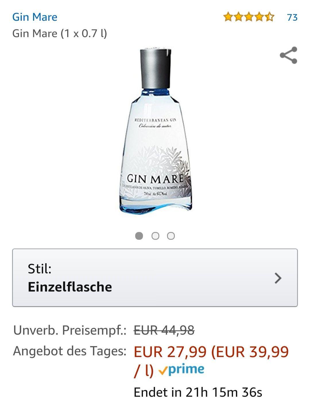 Gin Mare ohne Glas heute bei Amazon (Prime) und sonstige günstige wie Tanqueray No. TEN für 19,59