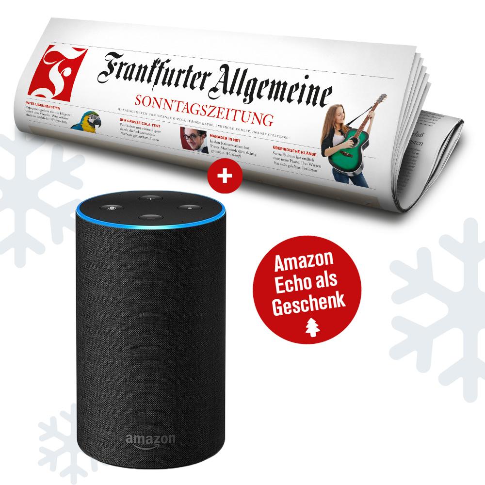 Amazon Echo 2 als Geschenk zum Jahresabo der Frankfurter Allgemeinen Sonntagszeitung erhalten
