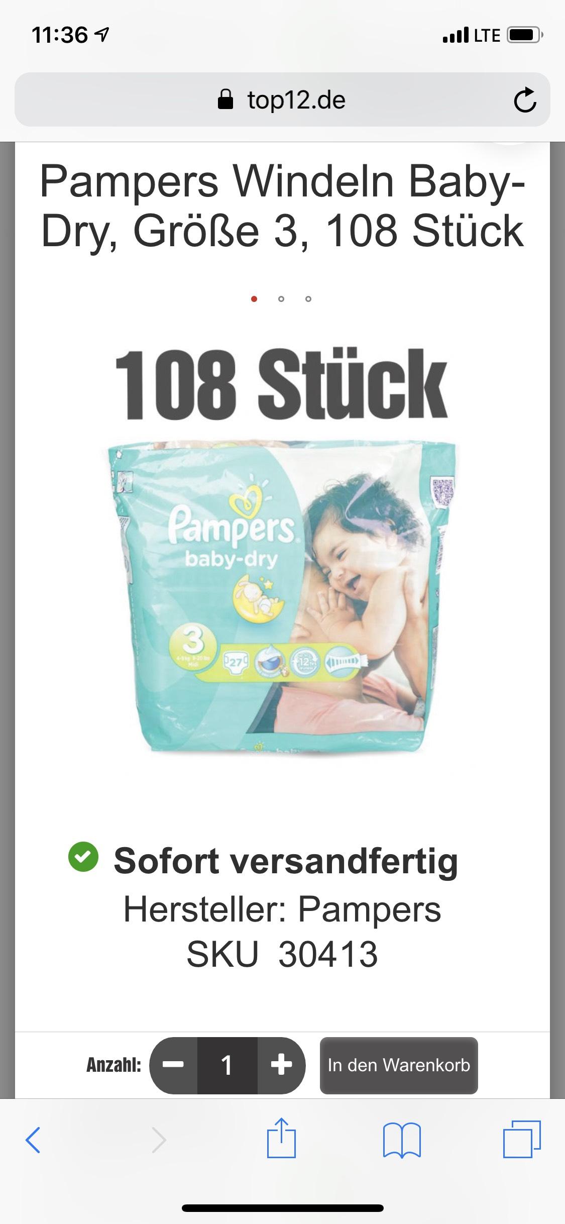 Top12 - Pampers Windeln Baby-Dry, Größe 3, 108 Stück
