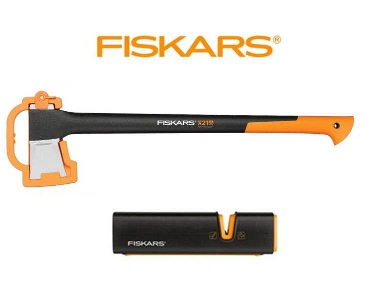 Fiskars X21 Spaltaxt und Xsharp Axt- und Messerschärfer