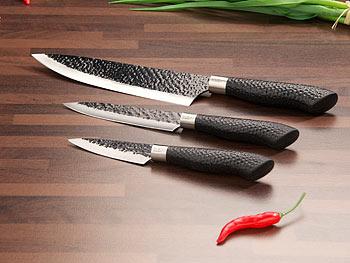 [PEARL] 3-tlg Messerset, Antihaft-Beschichtung, Hammerschlag-Design
