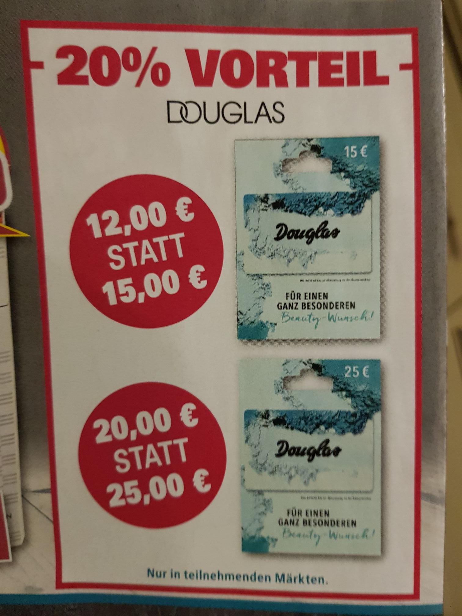 20% auf Douglas Geschenkgutscheine bei Trinkgut, Edeka und DISKA