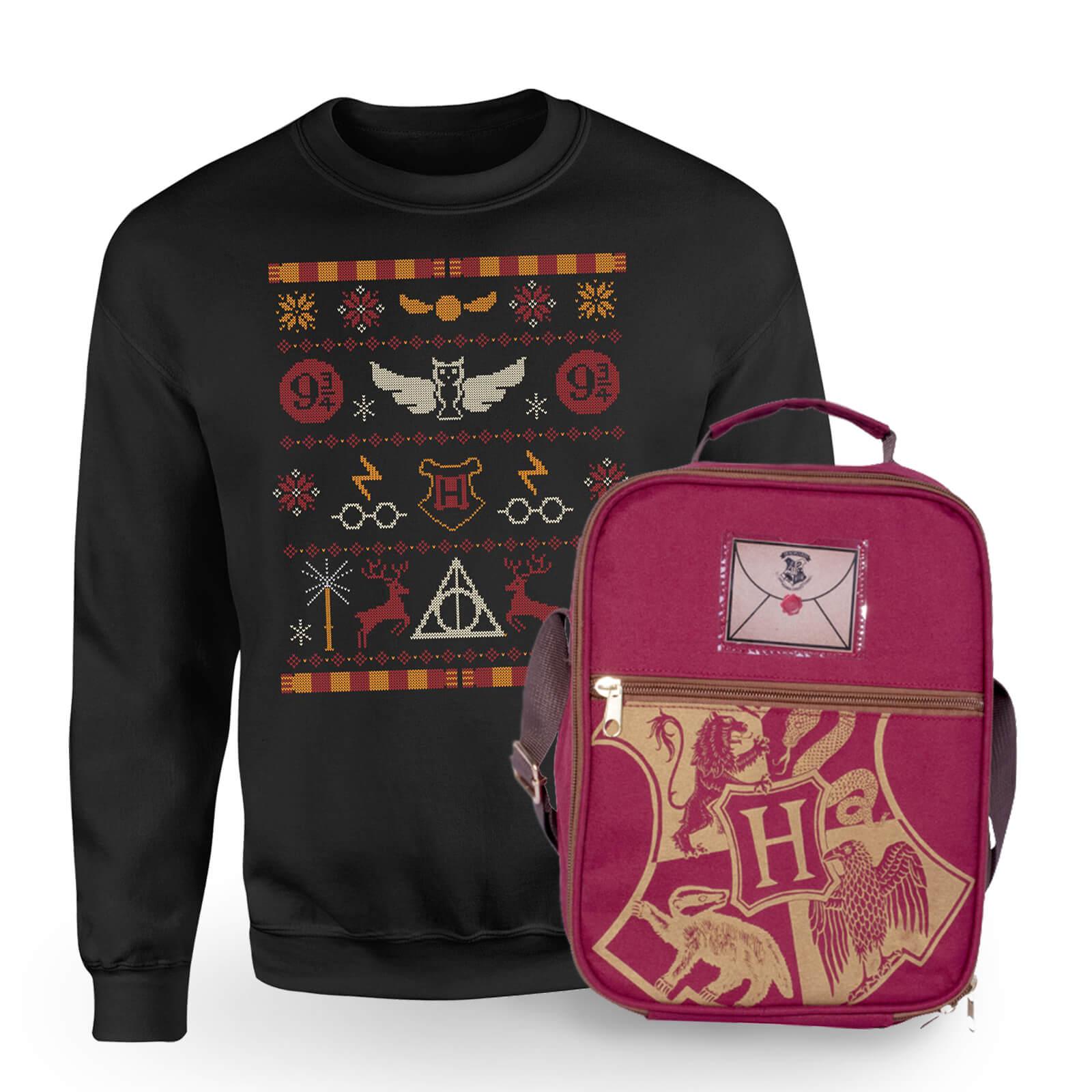 Harry Potter Hogwarts Weihnachtspullover + Tasche für 20,15€ (Zavvi)