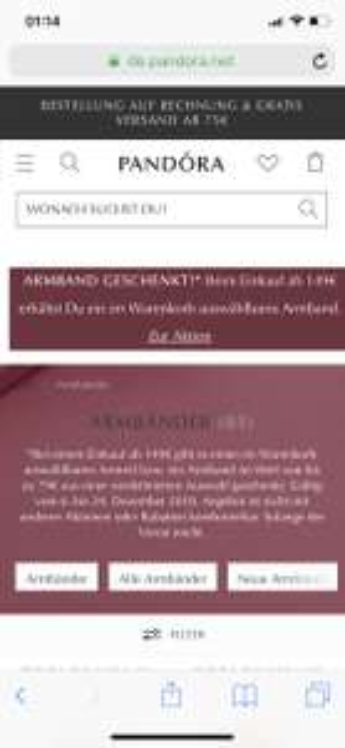 Pandora Armband im Wert von 79€ kostenlos bei MBW 149 €