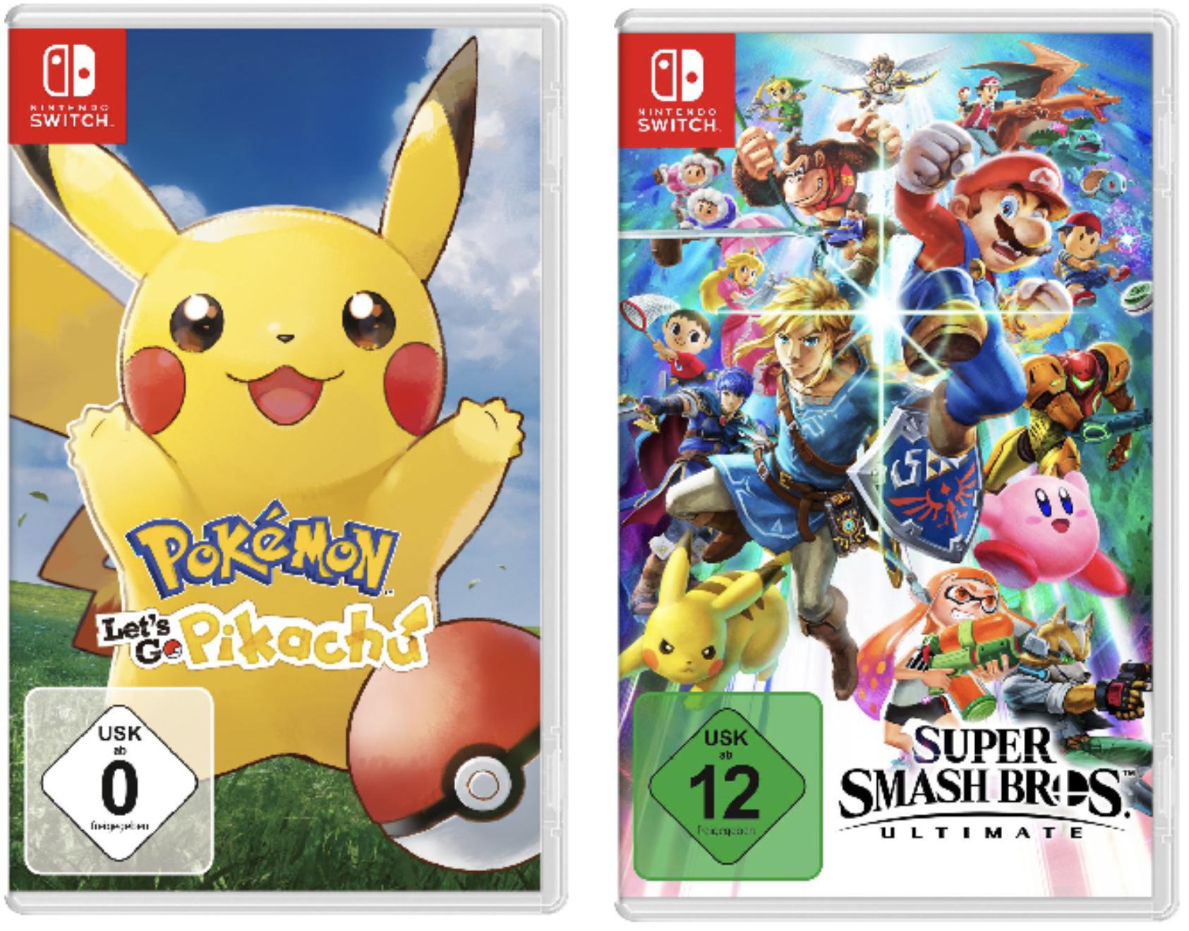 Nintendo Switch Pokémon Let's Go 34,79€ -  Super Smash Bros. Ultimate 49,99€ - Joy Con 2er 57,99€ und diverse mehr - m. Paydirekt