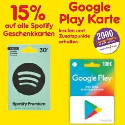 [Netto MD] 15% Rabatt auf alle Spotify Geschenkkarten & bis zu 2000 DC Punkte auf Google Play Karten ab 10.12.