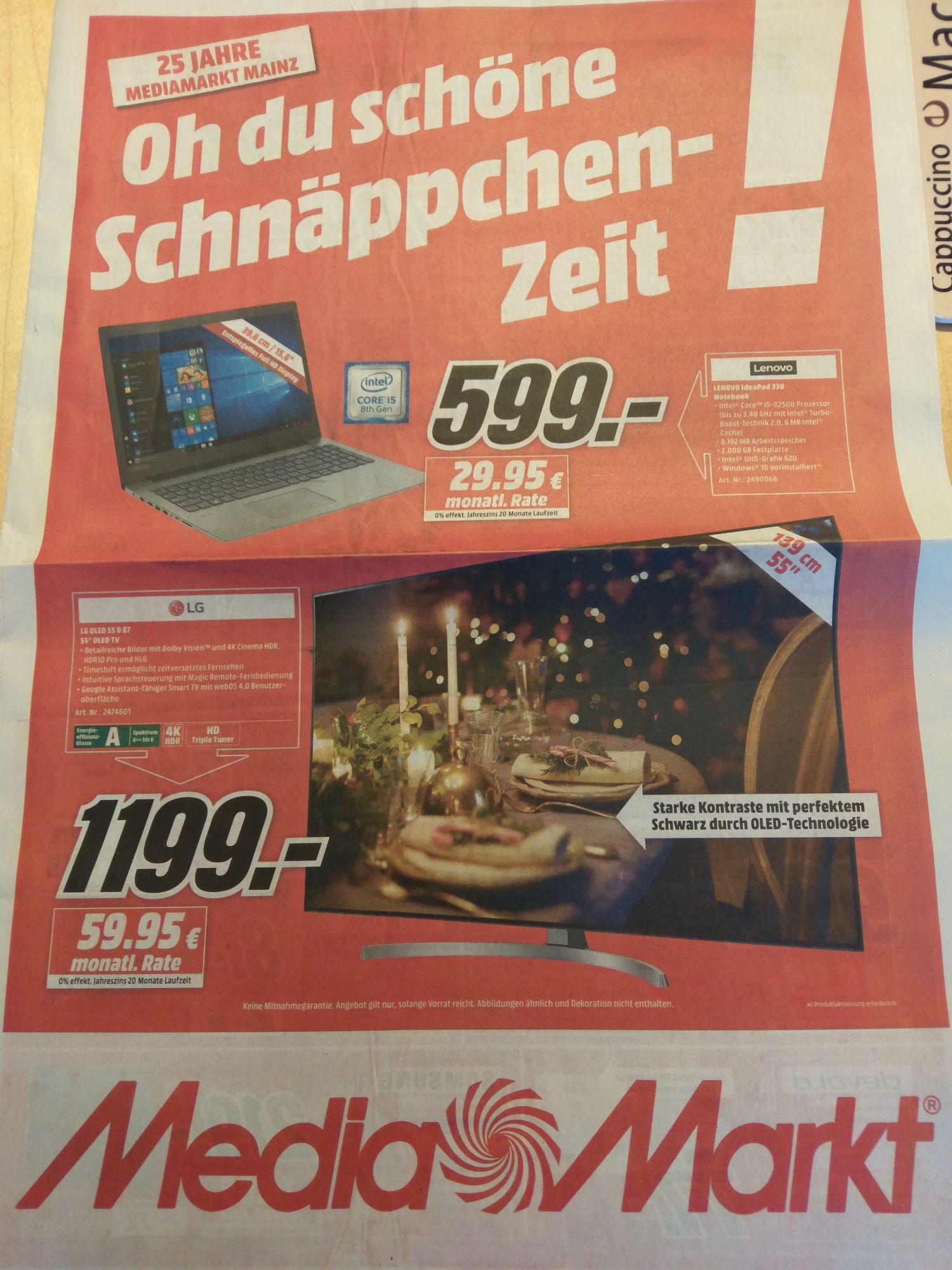 Lokal Media Markt Mainz LG Oled 55 B87 - 1199€